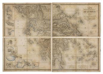 (GREECE.) Le Chevalier Lapie, Pierre. Carte Physique, Historique & Routiere de la Grèce.