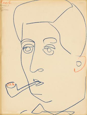 JOHN GRAHAM (1886-1961) Two color crayon portrait drawings.