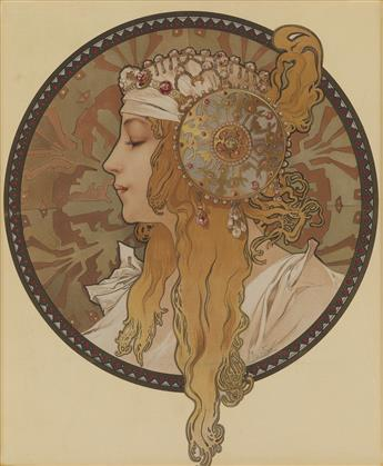 ALPHONSE MUCHA (1860-1939). [TÊTES BYZANTINE.] Two decorative panels. Circa 1897. Each approximately 14x13 inches, 35x33 cm. [F. Champe