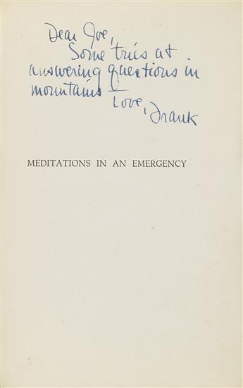 FRANK OHARA (1926-1966)  Meditations in an Emergency.