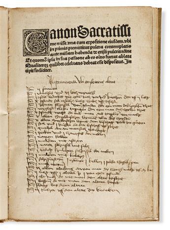 Balthasar de Porta (fl. 1487-1499) Expositio Canon