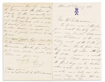 """GEORGE I; KING OF GREECE. Archive of 15 Autograph Letters Signed, """"George,"""" as King, and a fragmentary Autograph Letter, unsigned, to d"""