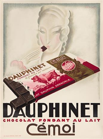 CHARLES LOUPOT (1892-1962).  DAUPHINET CHOCOLAT / CÉMOI. 1926. 63x47 inches, 160x119¼ cm. Les Belles Affiches, Paris.