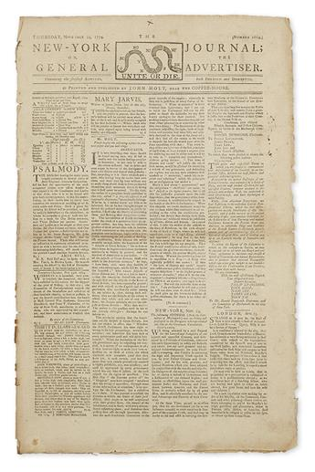 (AMERICAN REVOLUTION--PRELUDE.) The New-York Journal; or, the General Advertiser.