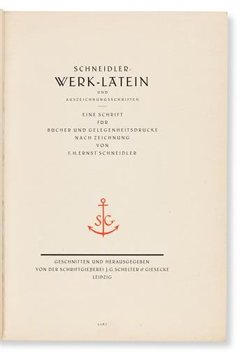 [SPECIMEN BOOK — F.H. ERNST SCHNEIDLER]. Die Schneidler Werk-Latien. J.G. Schelter & Giesecke, Leipzig. Circa 1921.