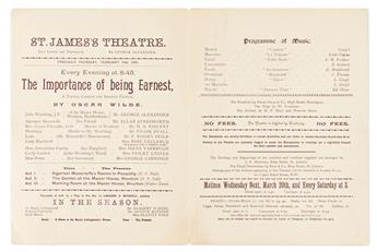 OSCAR WILDE (1854-1900) Program from the original production of The Importance of Being Earnest at St. Jamess Theatre.