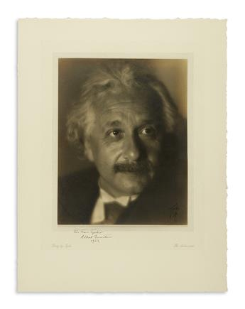 (SCIENTISTS.) EINSTEIN, ALBERT AND ELSA. Two Photographs Signed and Inscribed, one by Albert and the other by his wife, each a bust por