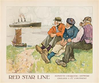 Henri Cassiers (1858-1944).             RED STAR LINE.  Circa 1925.