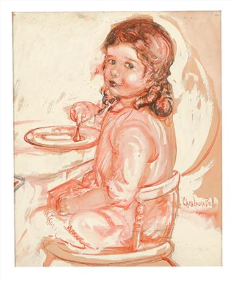 CLARA LOUISE BELL (1886-1978) Portrait of a young girl at the table. [CHILDRENS]