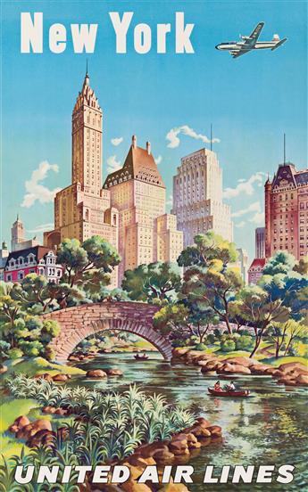 Joseph Feher (1908-1988).  NEW YORK / UNITED AIR LINES.  Circa 1950s.
