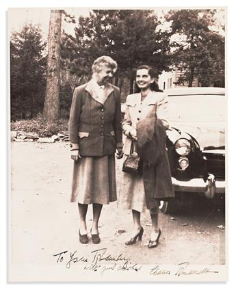 ROOSEVELT, ELEANOR. Two items, each to Assistant Secretary of Defense Anna M. Rosenberg: Photograph Signed and Inscribed * Typed Letter