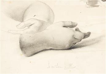 DANIEL HUNTINGTON Group of 4 pencil drawings.