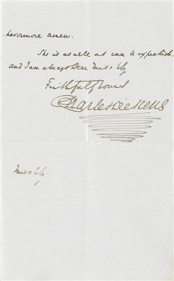 DICKENS, CHARLES. Autograph Letter Signed, to Marion Ely (My Dear Miss Ely),