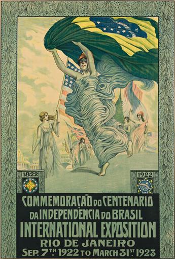 CARLOS OSWALD (1882-1971).  COMMEMORAÇÃO DO CENTENARIO DA INDEPENDENCIA DO BRASIL / INTERNATIONAL EXPOSITION RIO DE JANEIRO. 1922. 42x2