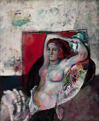 ARTHUR B. CARLES Nude with Red Background.