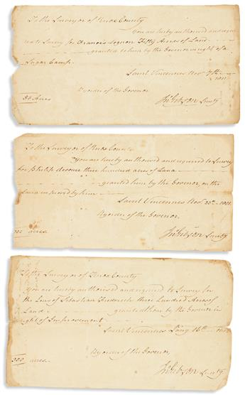 HARRISON, WILLIAM HENRY. Document Signed, Willm Henry Harrison, as Territorial Governor, to the Surveyor of Knox County [John Small],