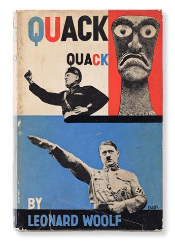 EDWARD MCKNIGHT KAUFFER (1890-1954).  QUACK QUACK BY LEONARD WOOLF. Hardcover book. 1937. 7½x5¼ inches, 19x13¼ cm. The Hogarth Press, L