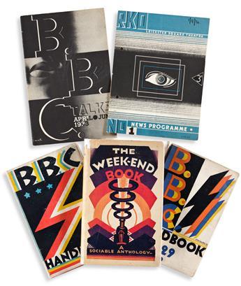 EDWARD MCKNIGHT KAUFFER (1890-1954).  [ART DECO GRAPHICS.] Group of 3 books, 2 pamphlets. 1920s-30s. Sizes vary.