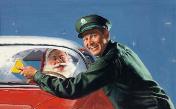 AMERICAN ARTIST. Cleaning Santa's Windshield. [ADVERTISING / CHRISTMAS]