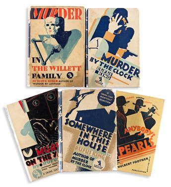 EDWARD MCKNIGHT KAUFFER (1890-1954).  [ART DECO DUST JACKETS / MURDER MYSTERY.] Group of 5 books. 1929-1932. Sizes vary.