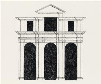 (THEATER.)  EDWARD GOREY. 6 pen and ink set designs of architectural structures