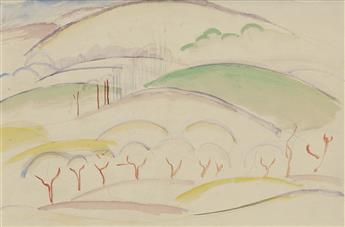WILLIAM ZORACH Trees on a Hillside.