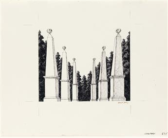 (THEATER.)  EDWARD GOREY. Cemetery [Garden obelisks with skulls].