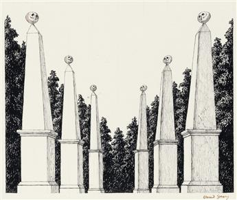 (THEATER.)  EDWARD GOREY. Cemetery [Garden obelisks with skulls].