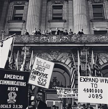 (DOROTHEA LANGE) (1895-1965) In front of City Hall, San Francisco, California. The Workers Alliance and Works Progress Administration