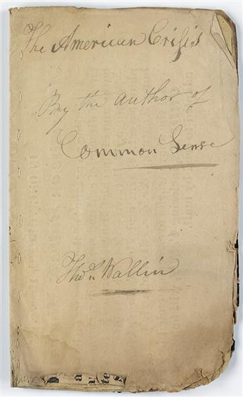 (AMERICAN REVOLUTION--1776.) [Paine, Thomas.] The American Crisis.