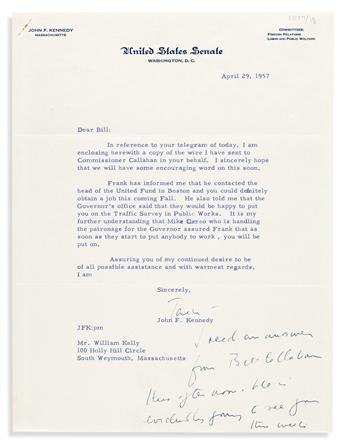 """KENNEDY, JOHN F. Typed Letter Signed, """"Jack,"""" as Senator, to William Kelly,"""