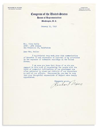 NIXON, RICHARD. Typed Letter Signed, as Representative, to Olive Wells,