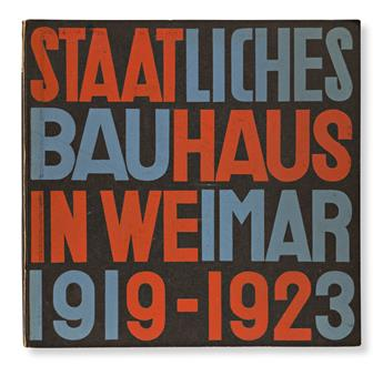HERBERT BAYER (1900-1985) & LASZLO MOHOLY-NAGY (1895-1946).  STAATLICHES BAUHAUS IN WEIMAR 1915-1923. Bound volume. 1923. 9¾x10 inches,