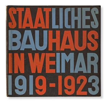 HERBERT BAYER (1900-1985) & LASZLO MOHOLY-NAGY (1895-1946).  STAATLICHES BAUHAUS IN WEIMAR 1915-1923. Bound volume. 1923. 9¾x10 inches,