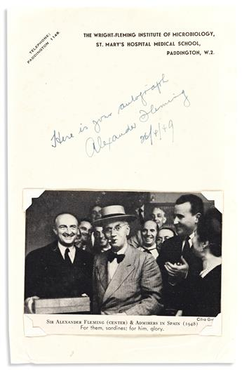 (MEDICINE.) FLEMING, ALEXANDER. Two items: Brief Autograph Note Signed * Clipped Signature.