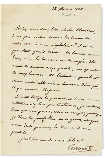 (MEDICINE.) CORVISART, JEAN-NICOLAS. Two Autograph Letters Signed, in French.