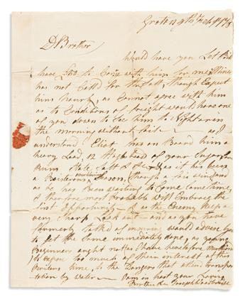 (AMERICAN REVOLUTION--1778.) Joseph Woodbridge. Letter discussing the perils of shipping along the heavily patrolled Connecticut coast.