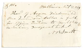 (MEDICINE.) SMITH, NATHAN RYNO. Two Autograph Documents Signed, NRSmith, each a receipt for $100 tuition from Aaron Friedenwold.