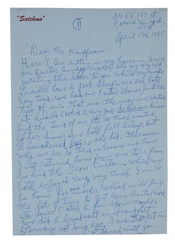 ARMSTRONG, LOUIS. Two Autograph Letters Signed, Satchmo / Louis Armstrong, to his lip salve purveyor Erich Kauffmann.