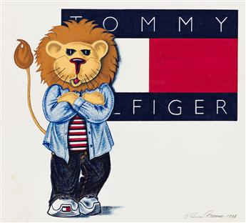 JULIE CASTILLO (1961- ) Lion Cub with Tommy Hilfiger Flag. * Tommy Girl Lion Cub Star Reacher. [FASHION / TOMMY HILFIGER]