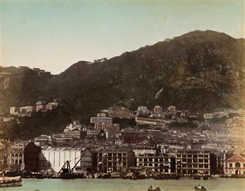 (M. MUMEYA--CHINA) Album with 50 hand-colored photographs depicting Hong Kong and Canton.