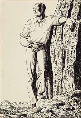 ROCKWELL KENT A Man on a Rocky Outcropping.