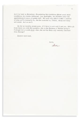 """SONDHEIM, STEPHEN. Typed Letter Signed, """"Steve,"""" to writer Leonard Gershe,"""