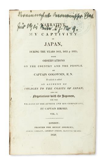 TRAVEL  GOLOVNIN, VASILIJ MIKHAILOVICH. Narrative of My Captivity in Japan, during the Years 1811, 1812 & 1813.  2 vols.  1818