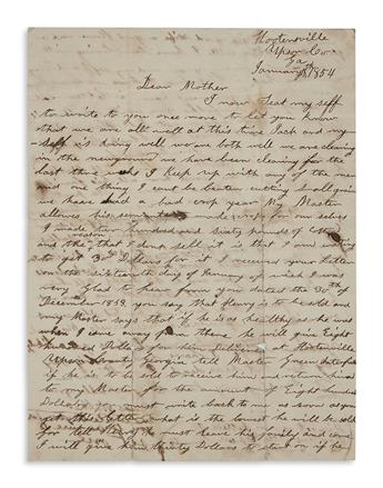 (SLAVERY AND ABOLITION.) Walker, Moses. Letter from an enslaved Georgia man to his mother at another plantation.