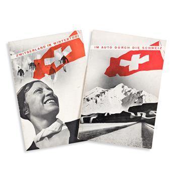 HERBERT MATTER (1907-1984).  [DIE SCHWEIZ.] Bound volume & 2 brochures. 1930s. Volume is 13½x10 inches, 34¼x25½ cm. Brochures are 7x4¾