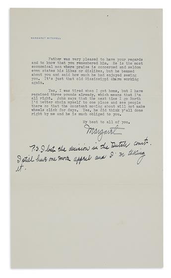 MITCHELL, MARGARET. Three Typed Letters Signed, M or Margaret, to New York Evening Post Editor Herschel Brickell (Dear Herschel),
