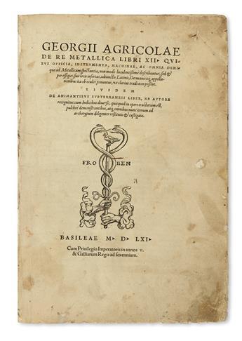AGRICOLA, GEORG.  De re metallica.  1561