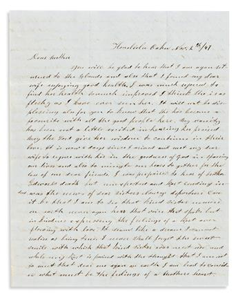 Russell, Jane (1819-1914) Archive of Letters, 1840s. Written during a Whaling Voyage, from Hawaii, and Other Ports.