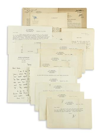 MENCKEN, H.L. Archive of 65 items Signed, Inscribed, or Inscribed and Signed, HLM or M, to Anne Duffy, her daughter Sara, or her mo